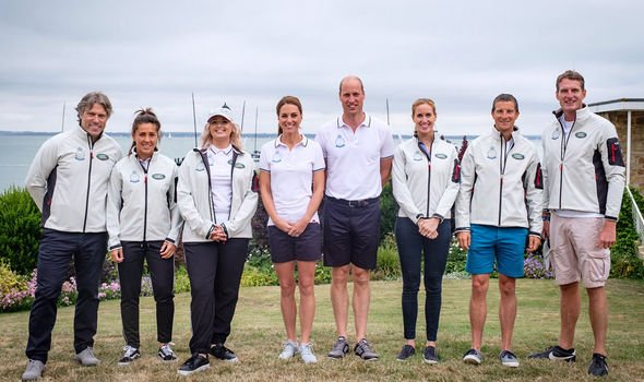 Kate Middleton and Prince William with the other six skippers in todays race Image TWITTER KENSINGTON PALACE