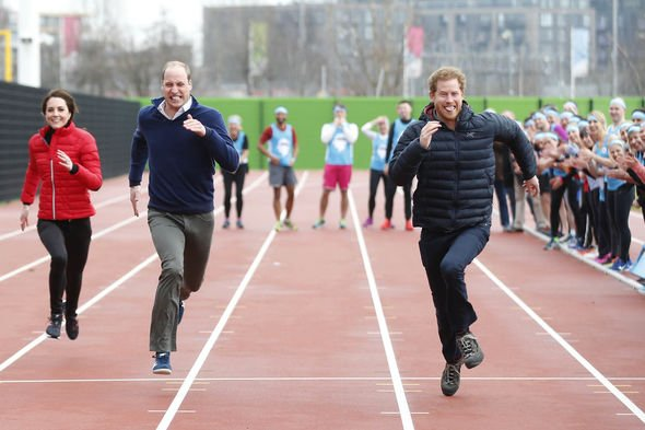 Kate Middleton news Kate Middleton Prince William and Prince Harry sprinting in a race of royals Image GETTY