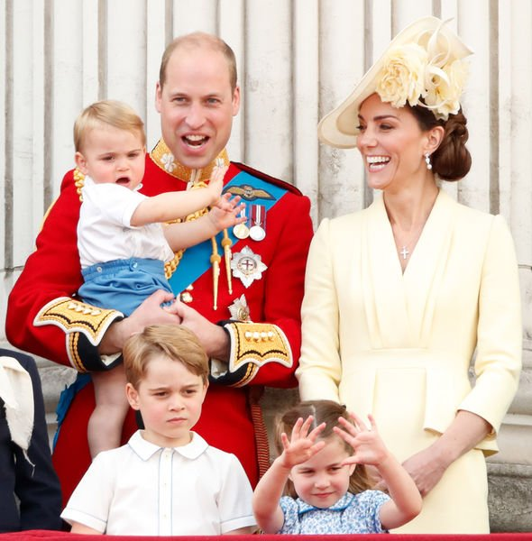 Kate and William with their children – Prince George Princess Charlotte Prince Louis Image GETTY