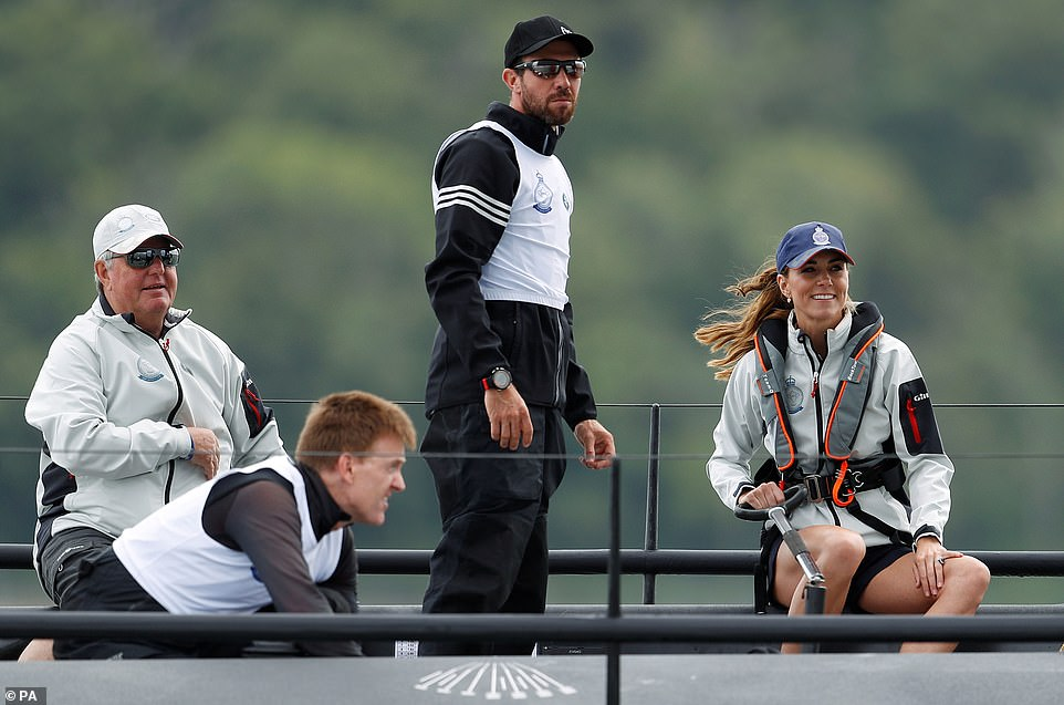 Kate pictured looked in her element as she goes to head to head in the eight boat regatta in support of her chosen charitable causes