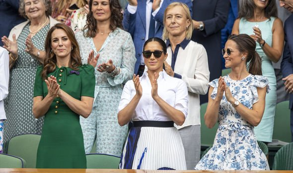 Kate with Meghan Markle and sister Pippa at Wimbledon Image GETTY