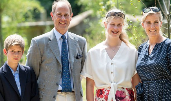 Lady Louise and James Viscount Severn with their parents earlier this month Image Getty