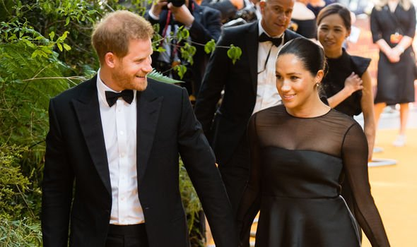 Meghan Markle and Prince Harry at the London premier of The Lion King Image GETTY