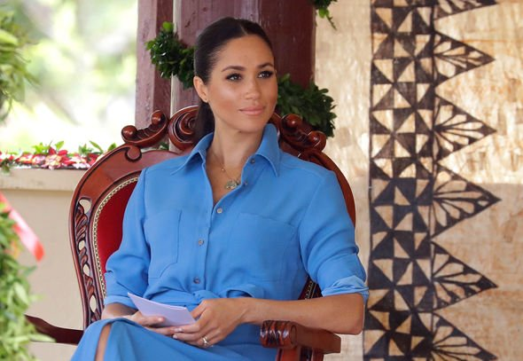 Meghan Markle birthday Meghan wore a powder blue dress by Veronica Beard Image GETTY
