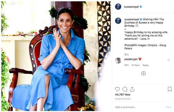 Meghan Markle birthday The adorable message from Harry to his amazing wife Image INSTAGRAM
