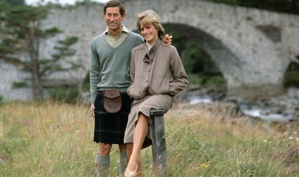 Prince Charles and Princess Diana on their honeymoon at Balmoral in Image GETTY