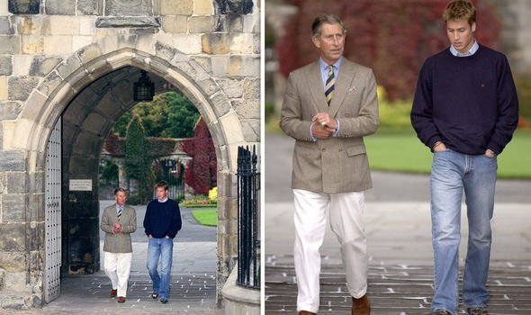 Prince Charles with Princ WIlliam on his first day at the University of St Andrews Image Getty