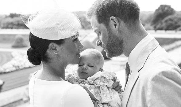 Prince Harry and Meghan Markle on the day of Archies christening Image GETTY
