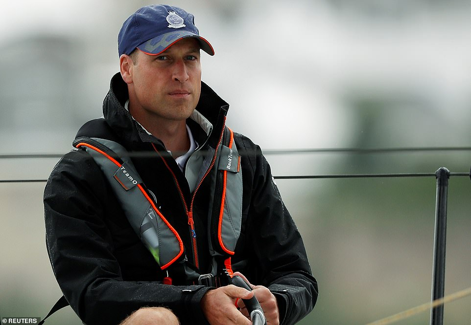 Prince William looked deep in thought as he took to the helm during the Kings Cup Regatta in Isle of Wight in support of his charities