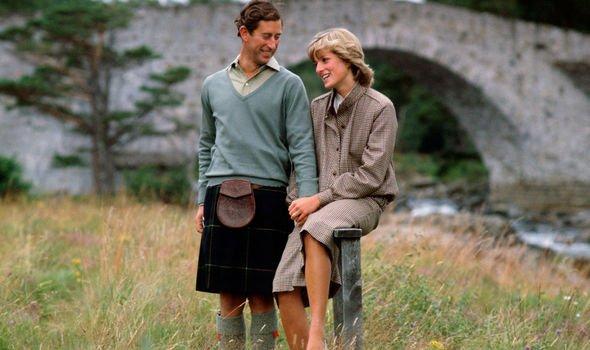 Princess Diana and Prince Charles on honeymoon at Balmoral Image Getty