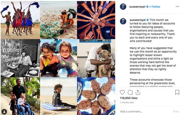 Royal snub Meghan and Harry picked new charities to follow on Instagram Image Sussex Royal