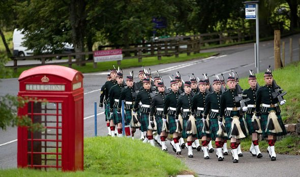 Soldiers arrive to provide the guard of honor at Crathie Kirk near Balmoral Image PA