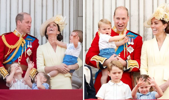The Cambridge family at this years Trooping the Colour Image Getty