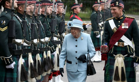 The Queen inspects the Balaklava Company Battalion The Royal Regiment of Scotland at Balmoral Image PA