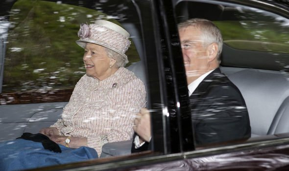 The Queen showed her solidarity by sitting with Prince Andrew yesterday as they travelled to church Image GETTY