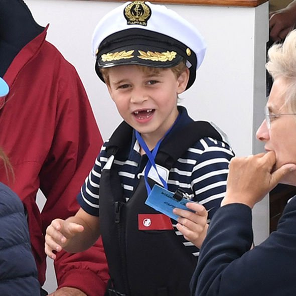 The future King wore a sailors cap on a boat trip Image Splash News