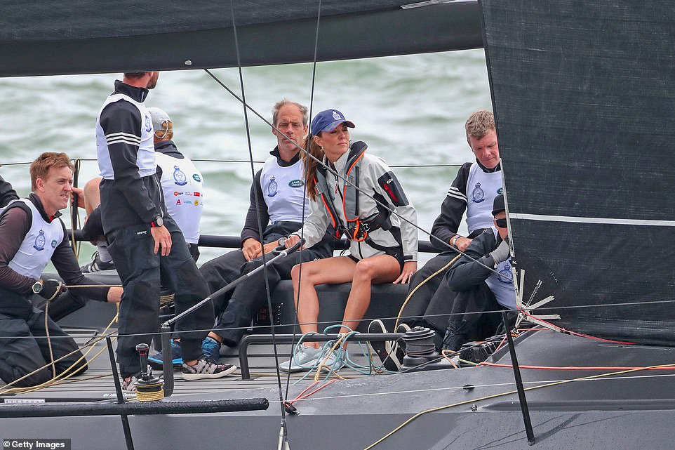 The mother of three was seen wearing a cap as she competed on behalf of The Royal Foundation in the inaugural Kings Cup regatta hosted by the Duke and Duchess of Cambridge