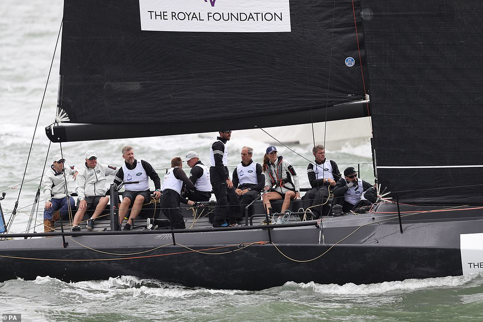 The sporty duchess fit in nicely amongst her team mates as she competed in the Kings Cup regatta at Cowes on the Isle of Wight today