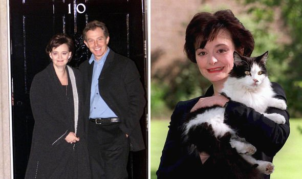 Tony and Cherie Blair pictured at Downing Street in Image Getty