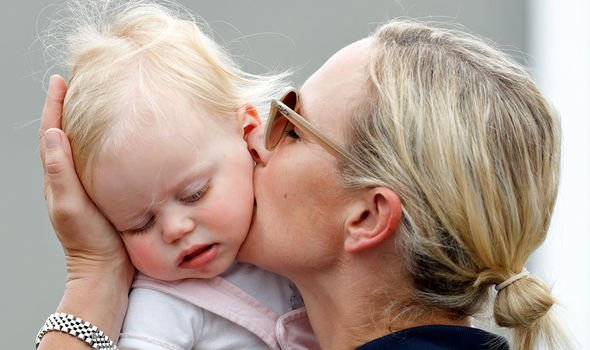 Zara with baby Lena this month Image Getty