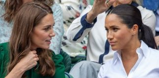 cropped Meghan Markle and Kate the Duchess of Cambridge at Wimbledon Image GETTY
