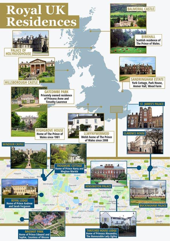 A map of royal residencies Image EXPRESS