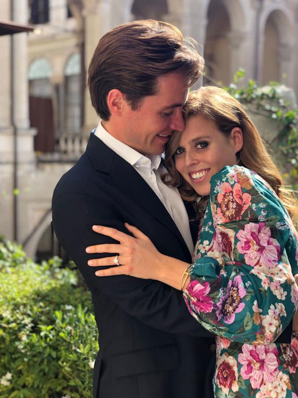 Beatrice showed off her dazzling diamond engagement ring in pictures released to mark the engagement