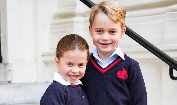Charlotte and George beamed before starting a new school year Image PA