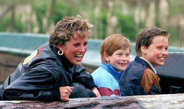 Diana Harry and William at Thorpe Park Image GETTY