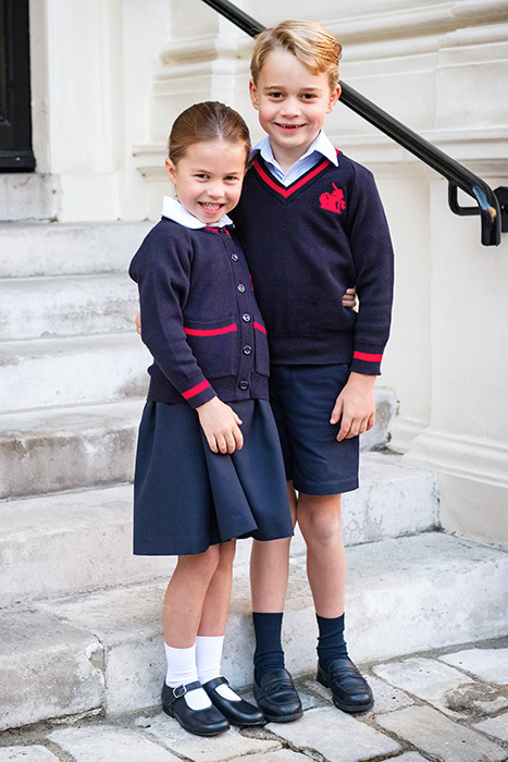 George and Charlotte posed at home Photo C KENSINGTON PALACE TWITTER