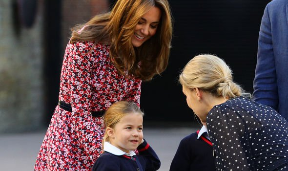 Kate Middleton news Kate and Princess Charlotte greeted the schools headmistress Image Getty