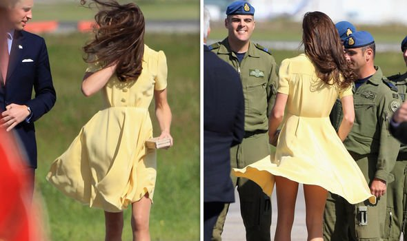 Kate Middletons frock was blown up by a gust of wind Image GETTY