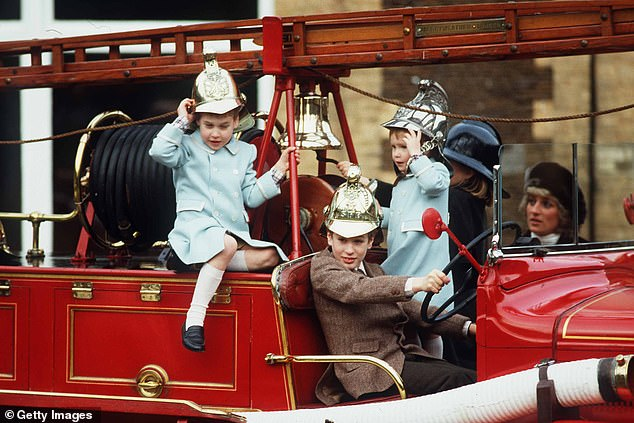 Kensington Palace throwback snap shows Prince William and Prince Harry playing in a fire engine with Peter Phillips and Zara Tindall during a outing