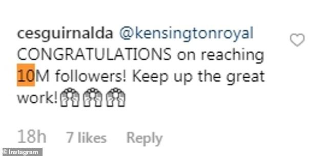 Kensingtonroyal Congratulations on reaching M