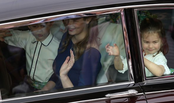 Lady Louise Prince George and Prince Charlotte at Princess Eugenies wedding Image GETTY