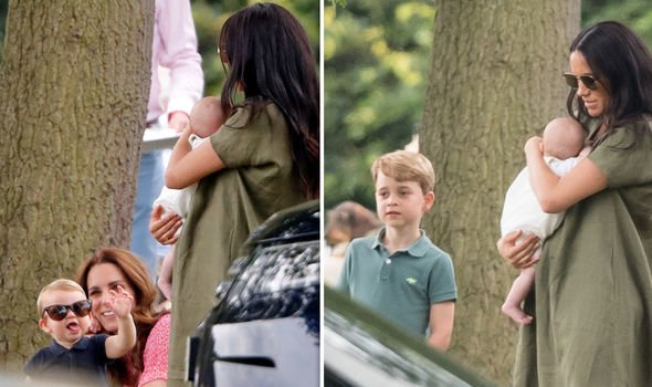 Little Archie with cousins Prince George and Prince Louis this summer Image Getty