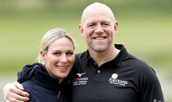 Mike Tindall and their daughters Mia and Lena watched on Saturday Image GETTY