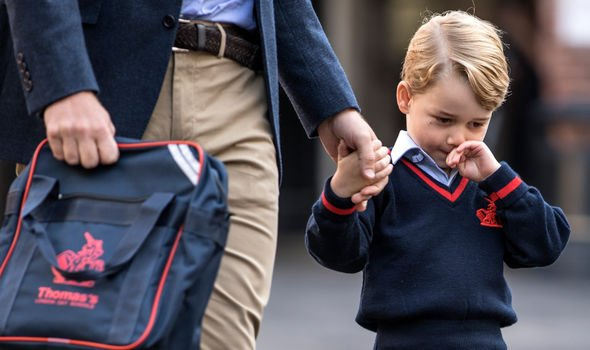 Prince George on his first day of school Image GETTY