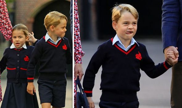 Prince George was spotted pulling faces outside of his school Image PA REUTERS