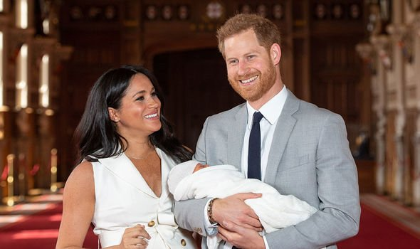 Prince Harry and his wife Meghan when they first showed their baby Archie to the public Image GETTY