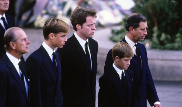 Prince Philip Prince William Charles Spencer Prince Harry and Prince Charles at Dianas funeral Image GETTY