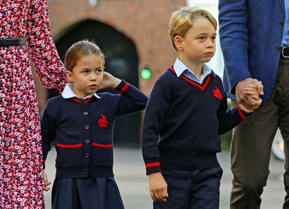 Princess Charlotte and Prince George It was the two older Cambridge childrens first day at school Image PA