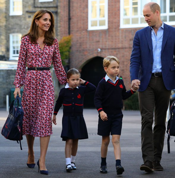 Princess Charlotte and Prince George Kate and William brought Charlotte to school for her first day Image PA