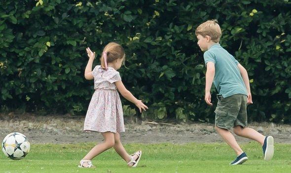 Princess Charlotte and Prince George play football Image GETTY