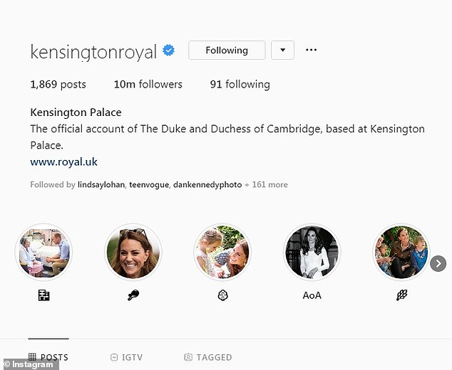 The Cambridges reached the achievement on their social media account @KensingtonRoyal and are the royal family to do so