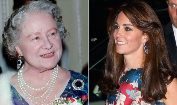 The Queen Mother and Duchess of Cambridge in the Sapphire and Diamond Fringed Earrings Image Getty Images