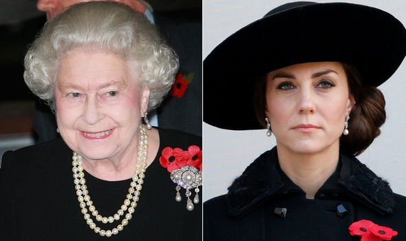 The Queen and Kate Middleton wearing the Bahrain pearl drop earrings Image Getty Images