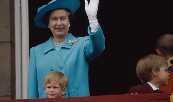 The Queen with Harry and William at Trooping the Colour in Image GETTY