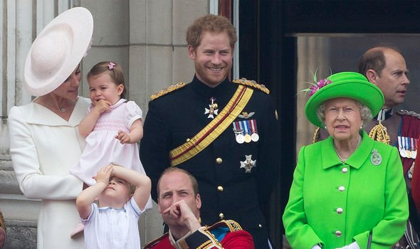 The Royal Family watching the Trooping of Colour Image GETTY