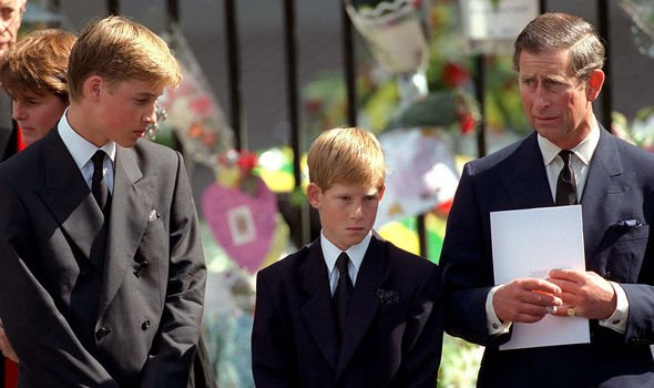 William Harry and Charles at Dianas funeral Image GETTY